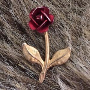 Vintage painted rose tie tac brooch pin